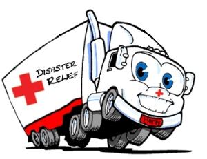 disaster relief truck cartoon
