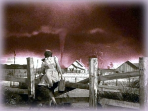 Dorothy with tornado